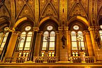 Stained glass windows inside the Parliament of Budapest in Hungary.