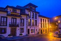 Street, night view. Bustio, Asturias, Spain.