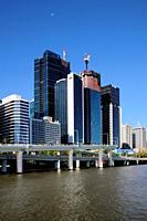 Brsibane river with buidlings of central Brisbane, Queensland, Australia.