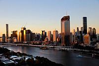 Aerial view of Brisbane Central Business District with Brisbane River, Queensland, Australia.