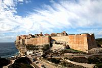 The houses of Bonifacio during sunny weather, Corsica, France, Europe.