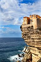 Cliff line with the houses of Bonifacio during sunny weather, Corsica, France, Europe.