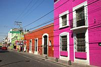 View to the colonial buildings in the city center, Puebla, Puebla State, Mexico, Central America