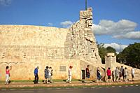 Tourists in front of the Monument to the Fatherland by Romulo Rozo Pena at Paseo Montejo in the city center, Merida, Yucatan State, Mexico, Central Am...