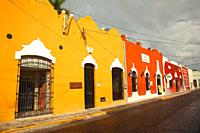 View to the colonial buildings in the historic center, Merida, Yucatan State, Mexico, Central America
