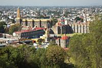 View to the Convent Of San Gabriel in the city center, Cholula, Puebla State, Mexico, Central America