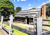 Aireys Inlet, Victoria, Australia. Great Ocean Road Lighthouse Discovery Trail. Replica of a bark hut originally built in the 1850â. . s but destroyed...