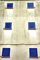 blue windows, Calella de Palafrugell, Catalonia, Spain