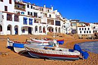 beach and fishing boat, Costa Brava, Calella de Palafrugell, Catalonia, Spain