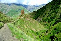 Ruins of a tower in the way to Kazbeg mount, Kazbegi, Georgia.