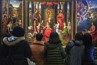 triptych by Hans Memling. Saint Johnâ. . s Hospital Museum. Bruges. Belgium.