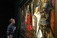 "famous masterpiece of Van Dyck """"Virgin and Child with Canon van der Paele"""" in the Groeninge Museum. Bruges. Belgium."