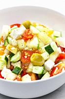 vegetable salad with feta cheese.