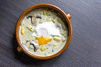 dill soup with poached egg.