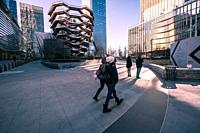 The vessel, a modern art, honeycomb like staircase in the center of the Hudson Yard open for visitors. New York City, NY.