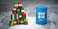 OPEC. Oil barrels in color of flags of countries memebers of OPEC on world political map background. 3d illustration.