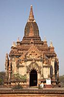 A temple, Old Bagan and Nyaung U village area, Mandalay region, Myanmar, Asia.