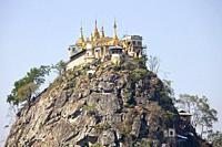 Popa Taung Kalat Temple, Popa Mountain, Mandalay region, Myanmar, Asia.