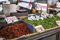 Red and green chillies on sale at Central Market, Port Luis, Mauritius, Africa.