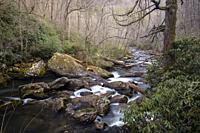 Cullasaja River Gorge near Scadin Falls - Highlands, Nantahala National Forest, North Carolina, USA.
