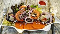 Peruvian cuisine. Mix of seafood an fish. Peruvian ceviche. Typical Peruvian dish.