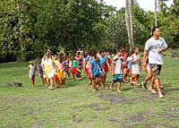 school children on day trip with teachers, visiting historic sites. Tahiti, French Polynesia.
