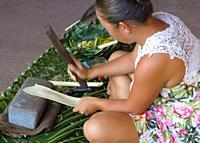 young woman making tapa cloth, Omoa, Fatu Hiva, Marquesas, French Polynesia. Early in the process, she beats tree bark(probably Banyan tree) to flatte...