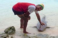 man with pet shark, Fakarava, Tuamotus, French Polynesia.