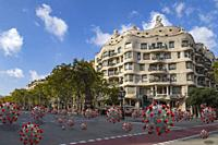 Coronavirus spreaded along Passeig de Gràcia, Barcelona, Catalonia, Spain.