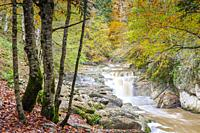 Del Cubo waterfall in Selva de Irati forest near Lodosa, Navarra, Spain.