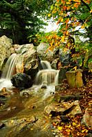 A small waterfall lends tranquility to the Osaka Gardens in Chicago's Grant Park.
