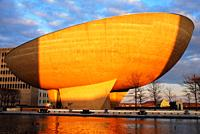 The Egg, a uniquely shaped performing arts center, sits on Empire Plaza in Albany, New York.