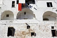 Laundry above the city wall in Ostuni, Puglia, Italy.