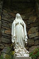 A picture of the Virgin Mary's statue taken in Immaculee-Conception church bottom view in color, Sherbrooke, Quebec, Canada.
