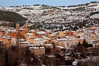 Winter landscape in Casas Bajas in the Ademuz region. Valencia.