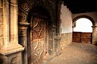 Door of old house in the village of Roncal. Navarra.