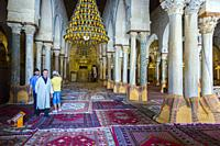Prayer Hall. Great Mosque of Kairouan or Mosque of Uqba. Kairouan, Tunisia, Africa.
