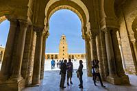 Portico with columns. Great Mosque of Kairouan or Mosque of Uqba. Kairouan, Tunisia, Africa.