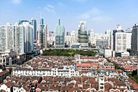 Historic and modern buildings, urban development, Renmin Road, Puxi, Shanghai, China, Asia
