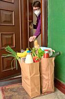 Delivering Food To A Self-isolate Woman or Quarantine At Home.