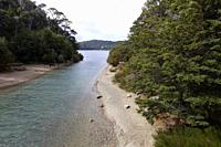 San Carlos of Bariloche, Rio Negro, Argentina. August 25 2018: View from the bridge to the langostura stream, Bariloche, Argentina.