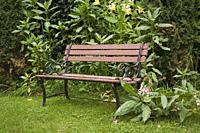 Brown wood and rusted black cast-iron sitting bench in a landscaped residential backyard garden in summer.