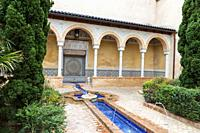 Courtyard of the Palace of the Counts of Cervellón, Anna, Valencia, Spain