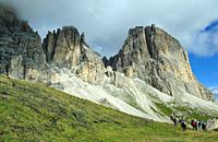 The Sassolungo (3,181m) is the highest mountain of Langkofel Group in South Tyrol in the Dolomites. They are a mountain range declared a UNESCO World ...