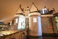 Nantes France: Castle of the Dukes of Brittany by night.