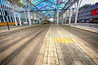 Europe, Poland, Lodz, March 2020, empty streets of city center during the coronavirus pandemic, Tram interchange center - Centrum, crossroads of Micki...