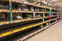 Supermarket shelves emptied by panic buyers during the Covid-19 epidemic Hereford UK. March 2020.