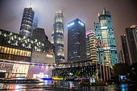 The luminous skyline of Shanghai, China at night.