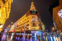 The flashy neon lights at Nanjing Road in Shanghai, China.