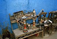 Shisha hookah pipes in a cafe in Islamic Cairo in the city of Cairo in Egypt in North Africa.